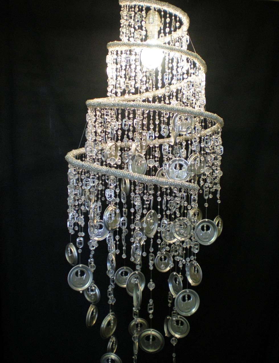 Functional electric chandelier made from bead and wire base and hand functional electric chandelier made from bead and wire base and hand stitched recycled tin end dangling arubaitofo Choice Image