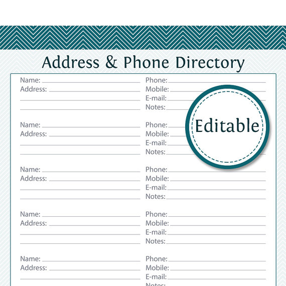 Address \ Phone Directory - Fillable - Printable PDF - Instant - phone sheet template
