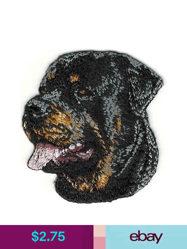 Embroidered Applique Patches Ebay Crafts Rottweiler Dog
