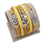 Leather Charm Bracelet Yellow With a Heart Boutique
