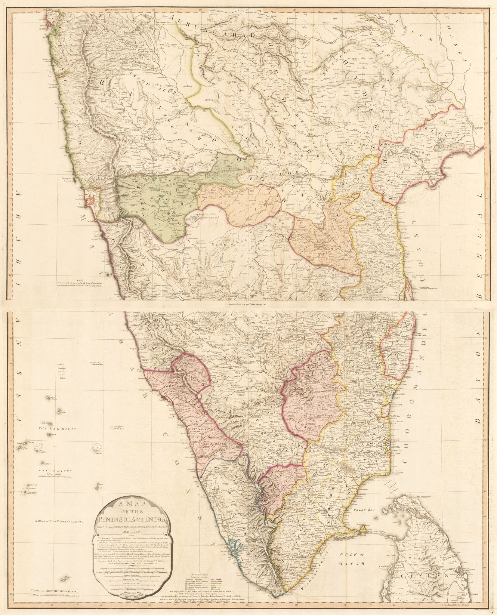60) A Map of the Peninsula of India, from the 19th degree north latitude to Cape Comorin MDCCXCII