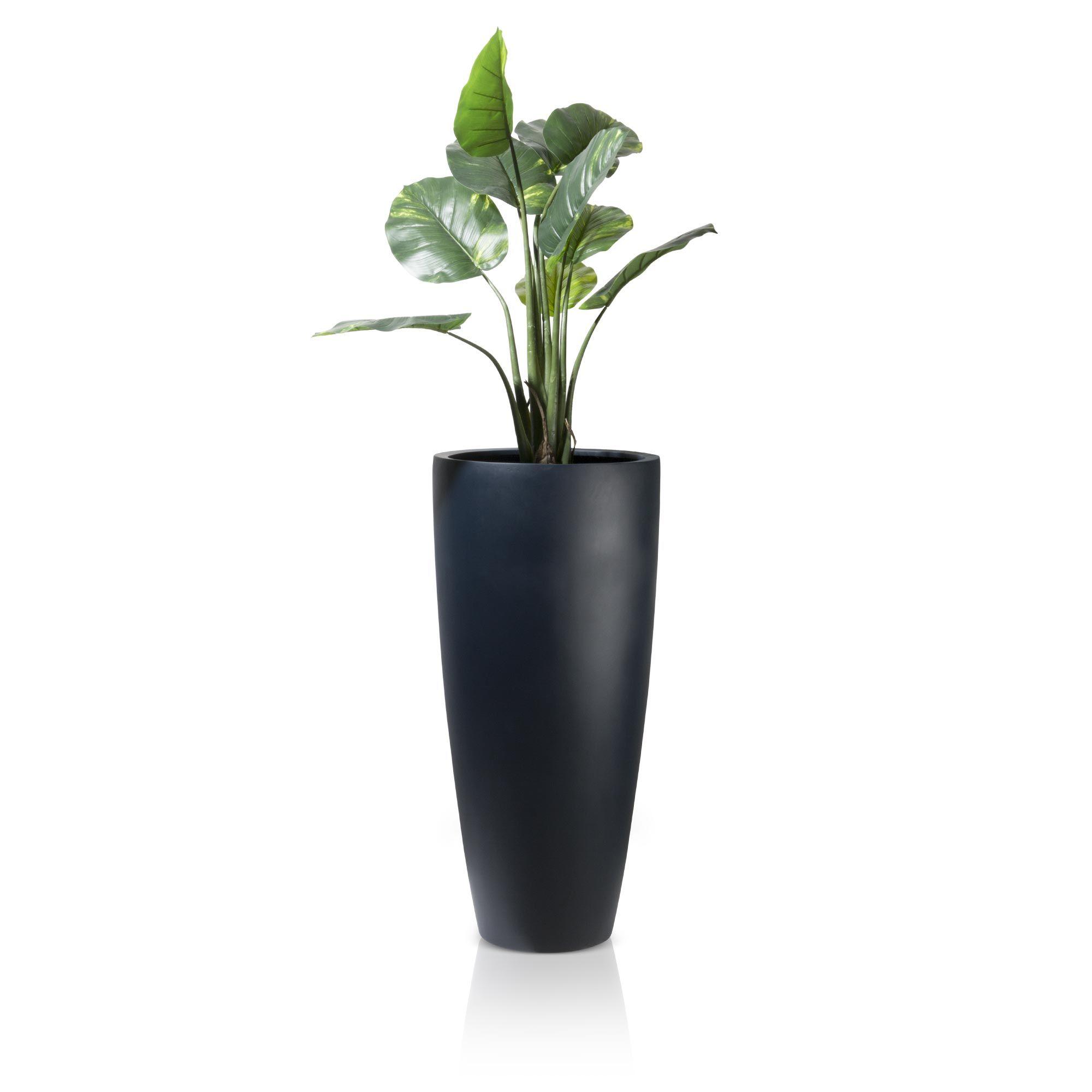 puro 100 ist ein schlanker runder pflanzk bel aus fiberglas in mattem anthrazit dessen. Black Bedroom Furniture Sets. Home Design Ideas
