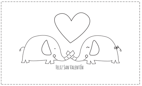 Tarjetas de San Valentín para colorear   Elefantes   Pinterest