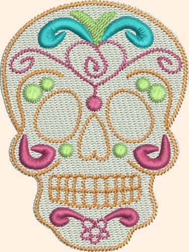 Skull Flourish Embroidery Design Sugar Skulls Embroidery Designs