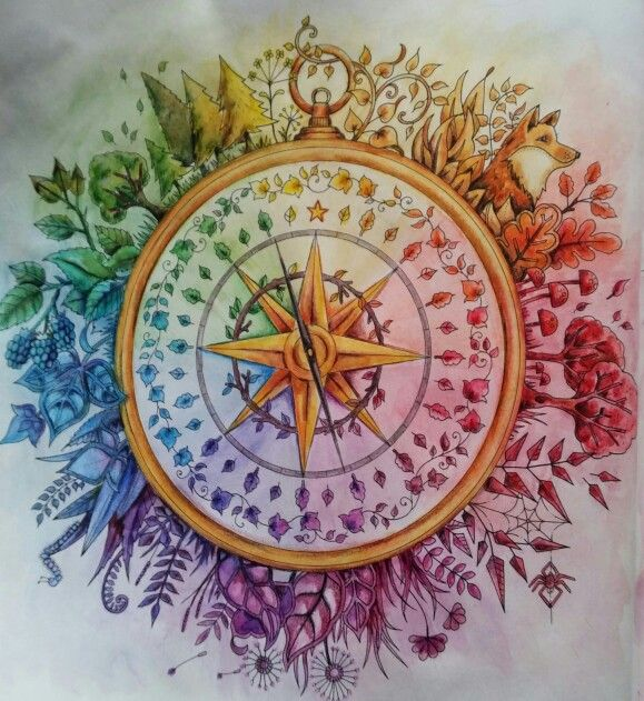 Enchanted Forest Compass Coloured Using Inktense Pencils