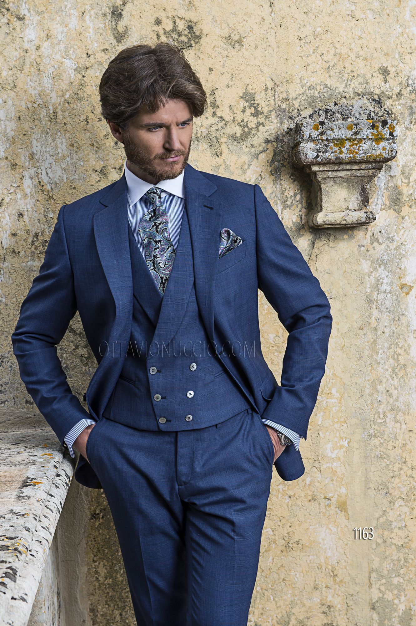 Abito sposo in misto lana Principe di Galles blu | Uomini