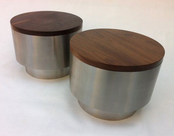 Mid Century Modern Style Side Tables   Pair Of Contemporary Solid Walnut  And Stainless Steel Bedside Cocktail Or Drum Coffee Tables