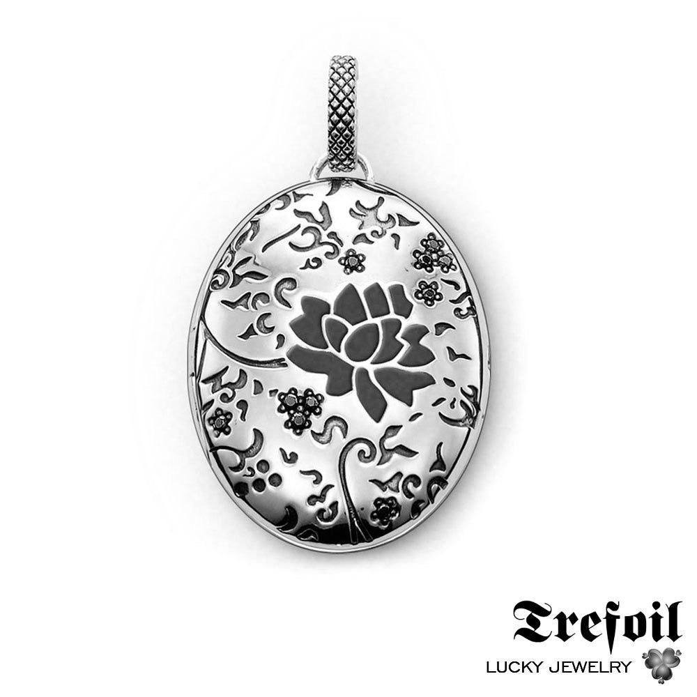 Black rose locket pendant fashion jewelry sterling silver