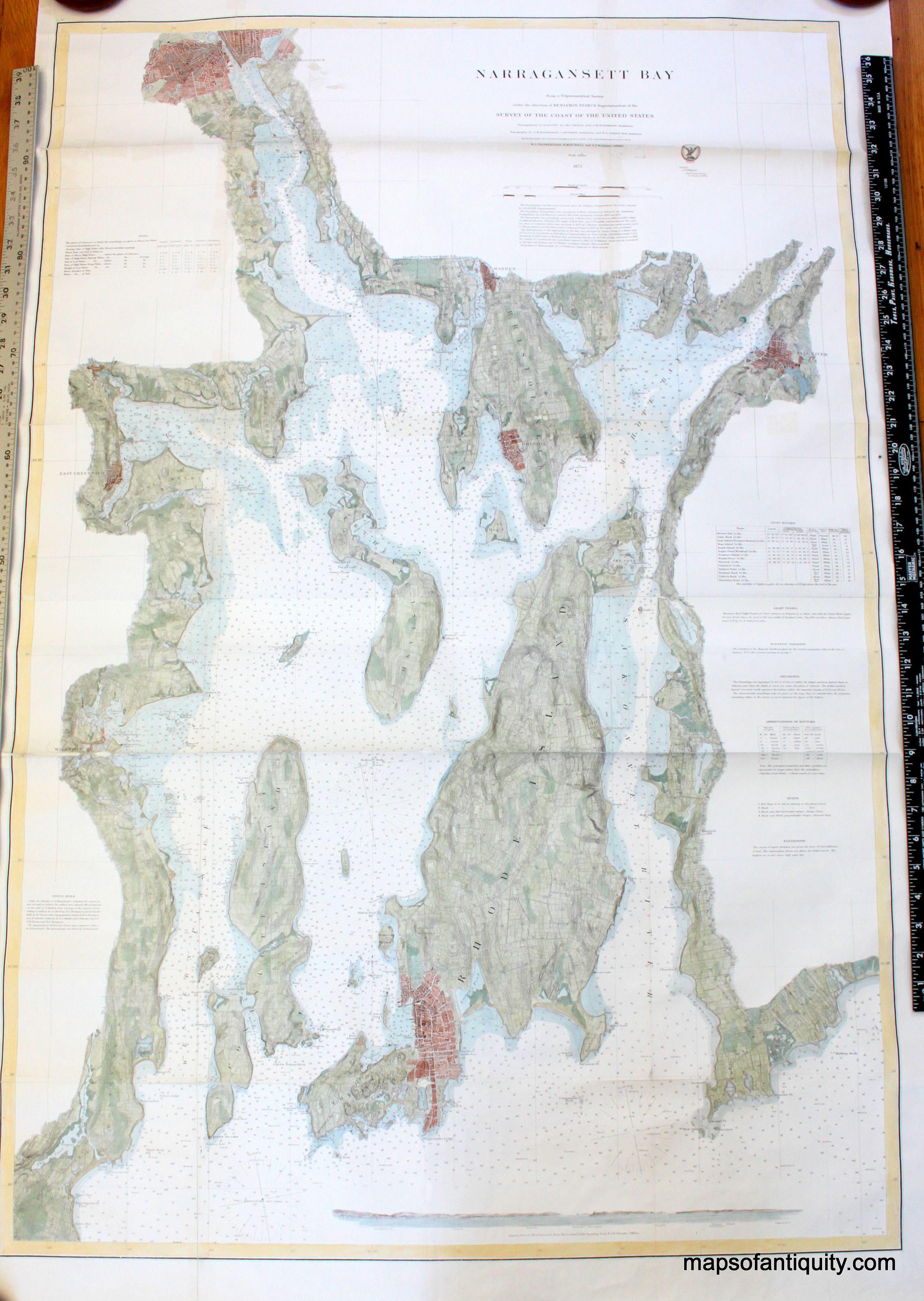 Cod Narragansett Bay Hand colored antique coastal chart