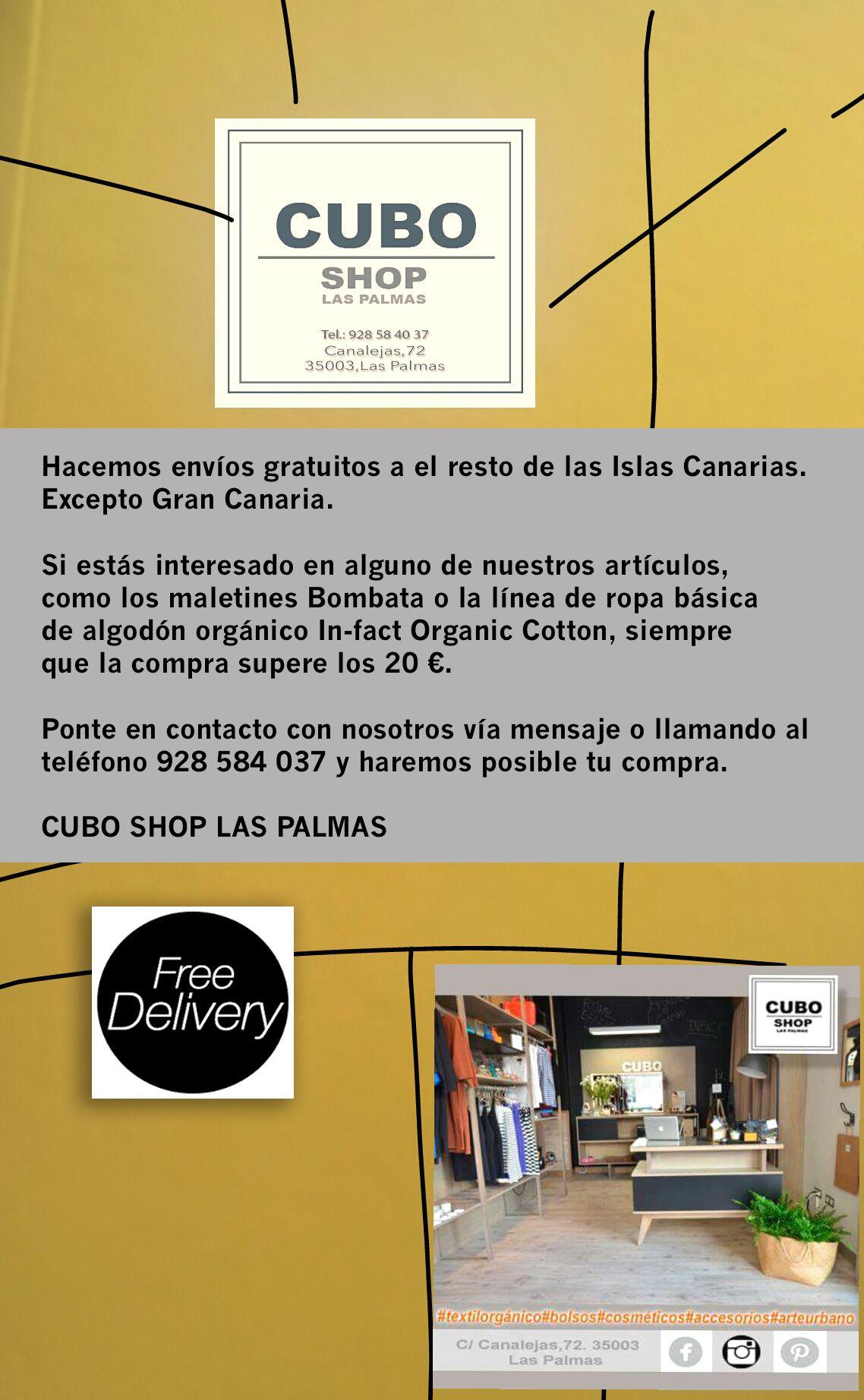 Envío gratuito a clientes de las Islas. Excepto Gran Canaria.  Compra superior a 20€ Mira nuestros artículos en nuestros tableros.