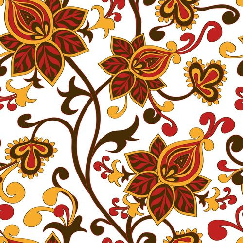 Cute floral ornaments vector seamless pattern 02 - Vector Floral free download