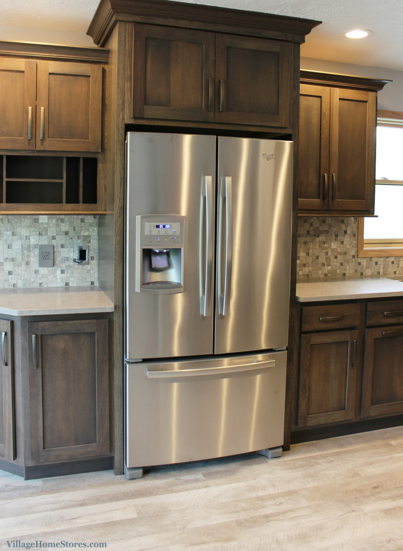 A gray hickory stained Bettendorf, IA galley kitchen ...
