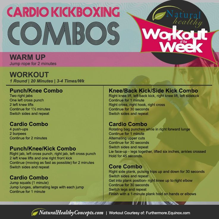 The Calorie-Blasting Kickboxing Workout - 1 round - 20 minutes - 3 to 4 times a week.