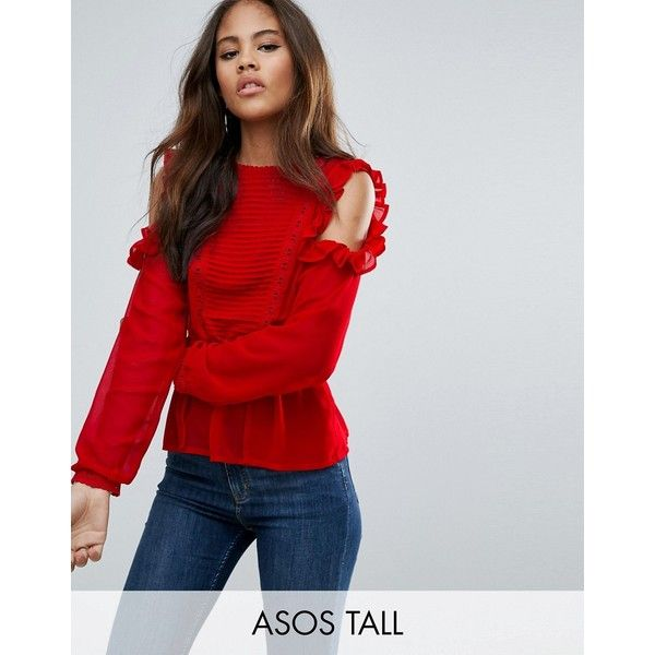 3d68197edfac6 ASOS TALL Ruffle Cold Shoulder Blouse with Pintuck Front and Lace... ( 48)  ❤ liked on Polyvore featuring tops