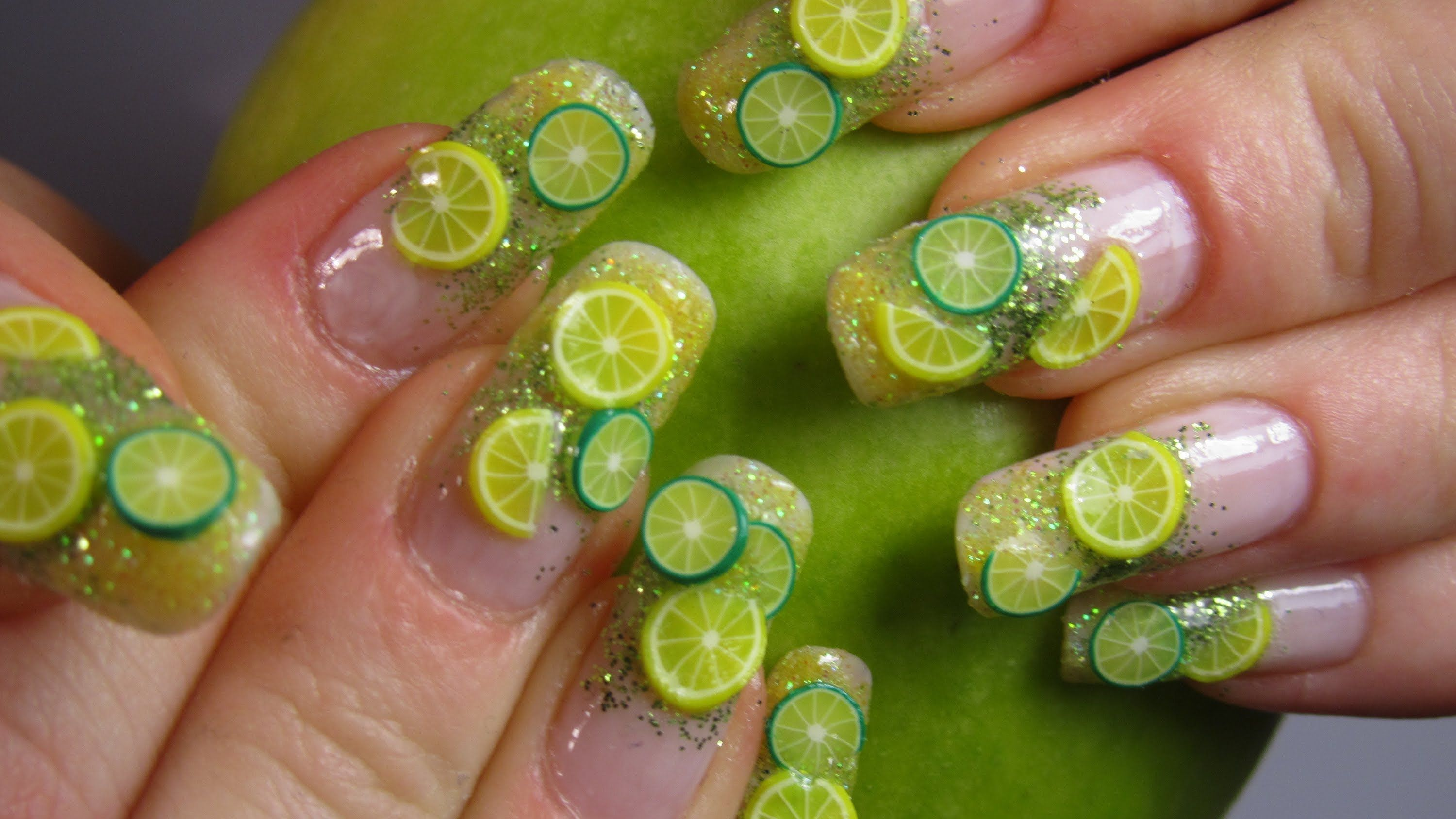 Fimo fruit lemon and lime design with gradient yellow and green ...