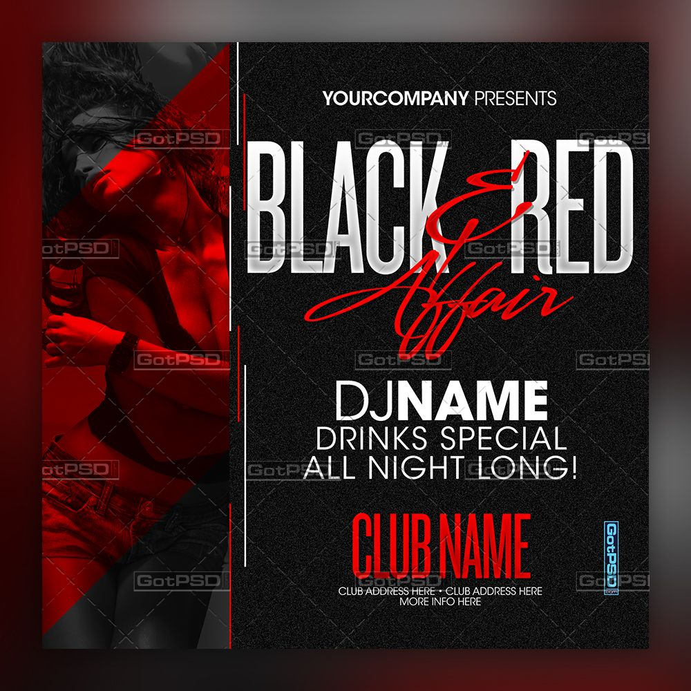 Black Red Affair 5x5 Gotpsd Com Black And Red Event Poster Red