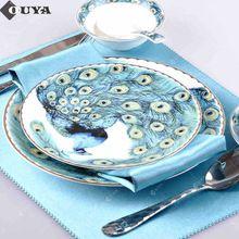 Oro placa de cena 8 / 10 pulgadas de placa plana de cerámica, plato de postre, taza de café con platillo, tazón con la cuchara, CC140(China (Mainland))