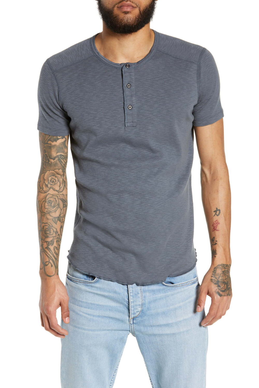 wings and horns short sleeve henley t
