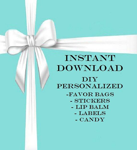 061a3081ac TIFFANY Instant Download for DIY Personalized Favors by MajesticSoaps,  $0.99 Perfect for Candy Bags, Favors Bags, Cookies, Invitations, Water  Bottle Labels, ...