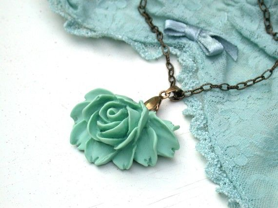 Mint Necklace  A Romantic Mint Green Rose by roomofyourown on Etsy,