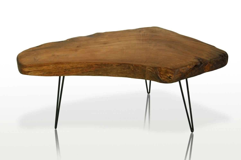 408e12f6b813c Table basse en racine ou loupe de teck et pieds métal 100% teck massif