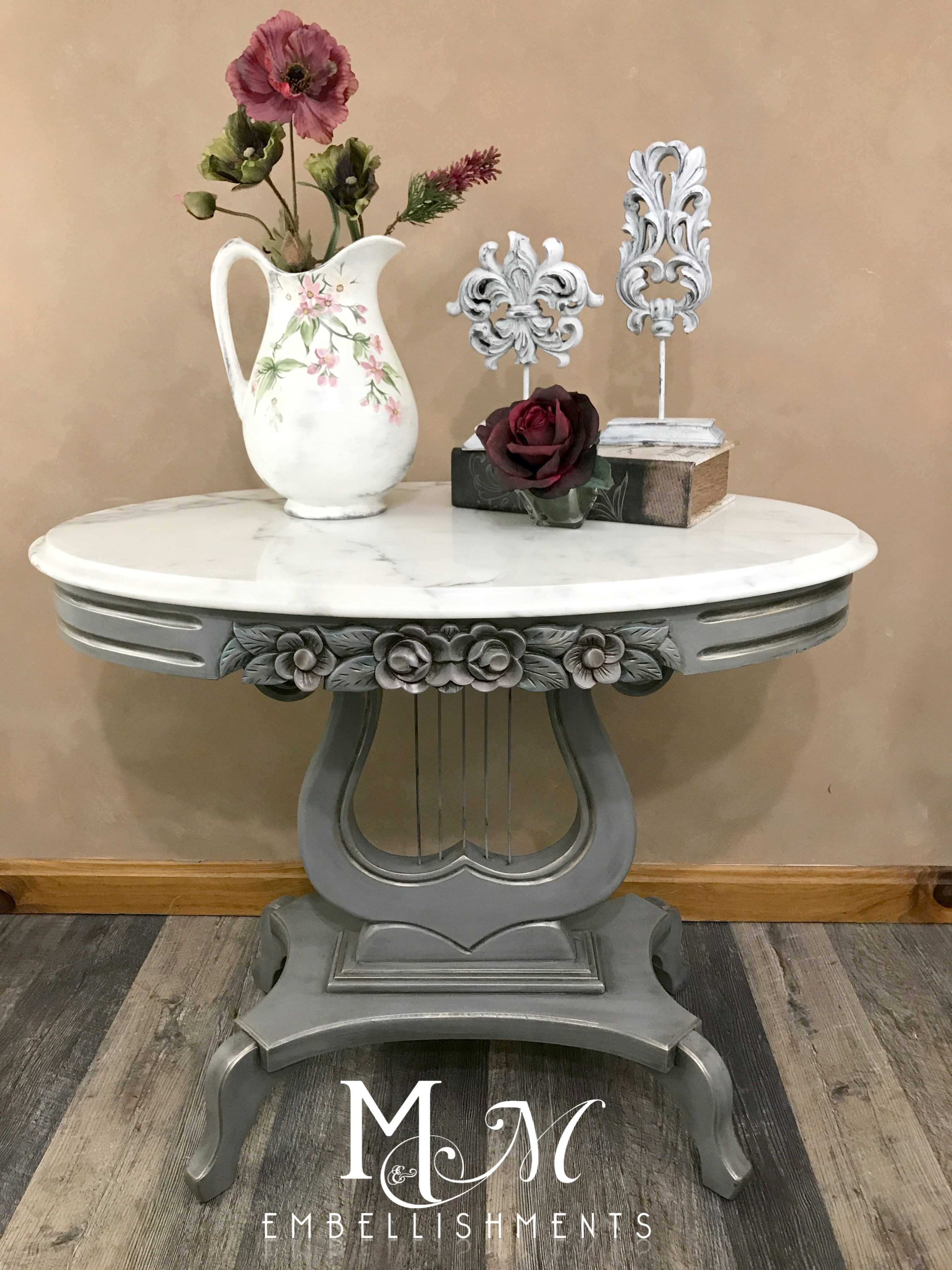 Marble top Lyre table painted with Wise Owl Smokey Quartz I used
