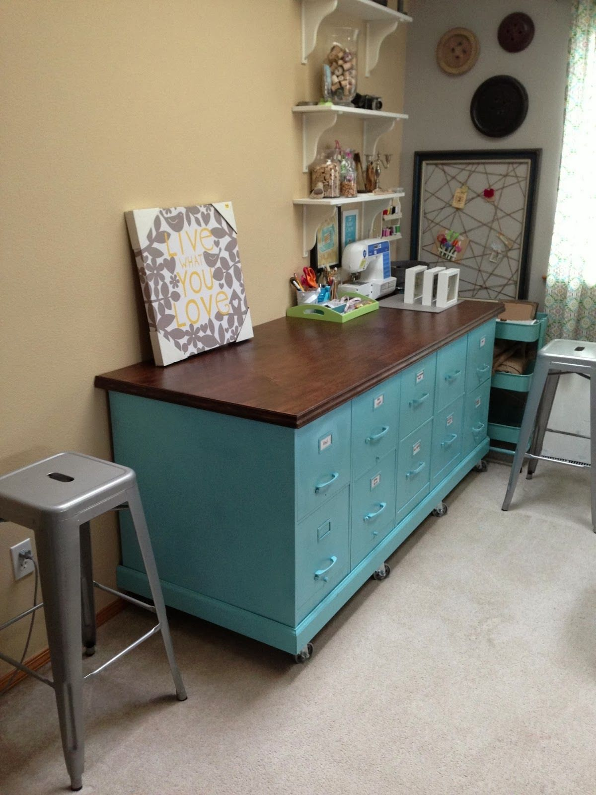 House Revivals Super Amazing Ways To Up Cycle Filing Cabinets Add A Sy Base With Casters And Pretty Work Surface Create Studio Storage