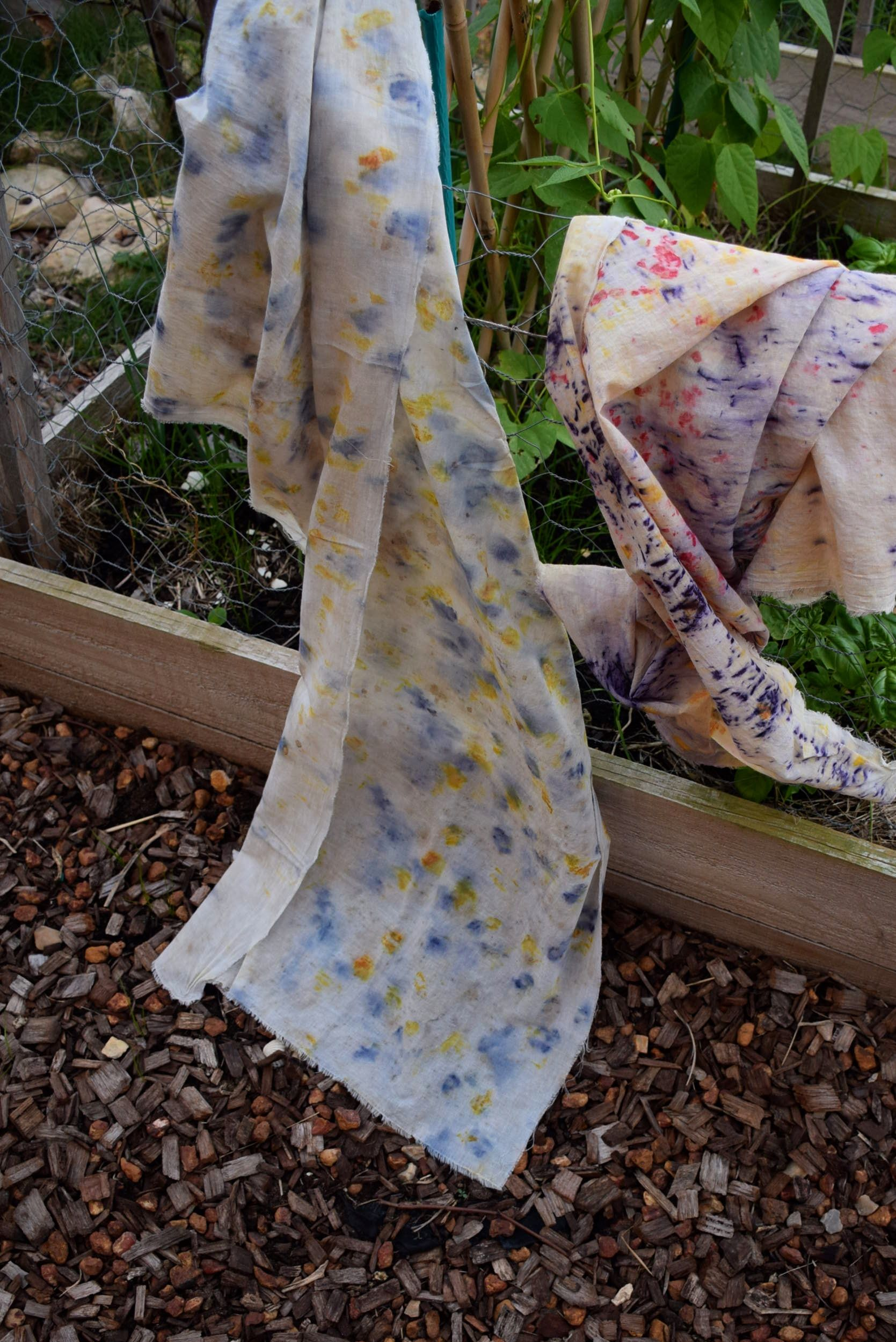Natural bundle dye cotton muslin scarf - blue and golden yellow splatter www.mujostore.com
