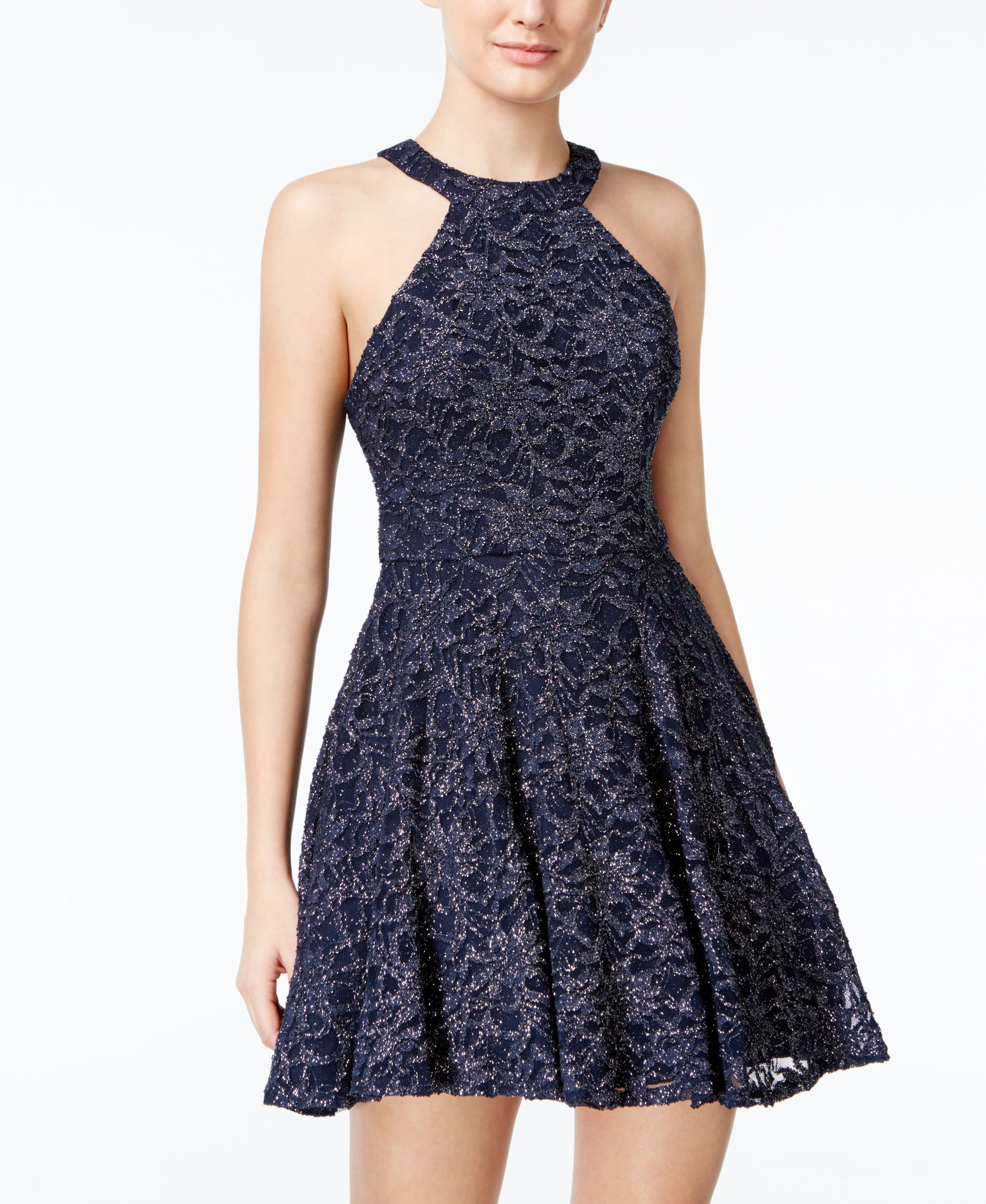 B darlin black lace dress  B Darlin Juniorsu Glitter Lace Fit u Flare Dress  Fit flare dress