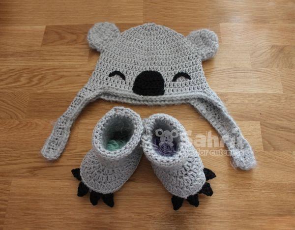Koala Hat and Booties crochet pattern by eye for cuteness ...