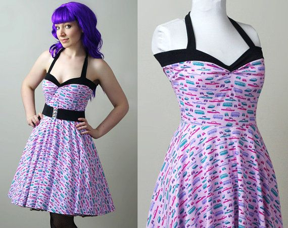 Car Print Yvonne Retro Rockabilly Swing Dress Custom By Smarmyclothes Rockabilly Swing Dress Retro Inspired Dress Retro Swing Dresses