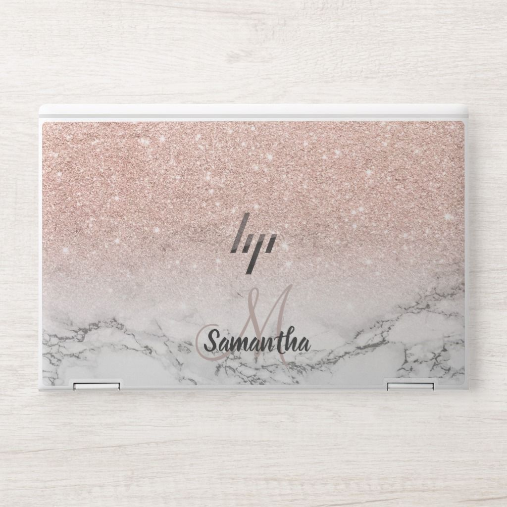 rose gold pink glitter ombre white marble name HP laptop skin | Zazzle.com