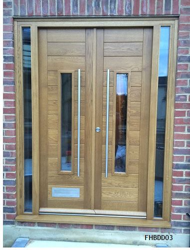 Oak Contemporary Double Doors Contemporary Front Doors Door Design Wood Front Door Design