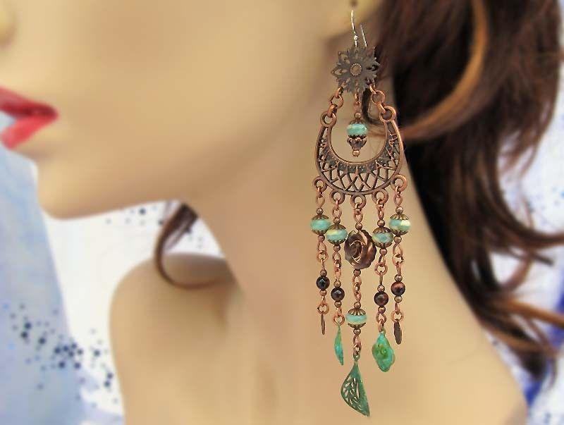 Bohemian wedding chandelier earrings Bohemian jewelry Shoulder ...