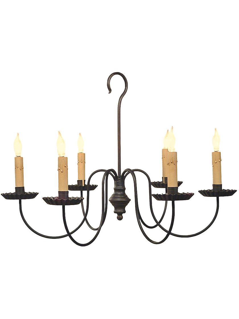 Antique Reion Lighting Wilcox 6 Light Wrought Iron Chandelier With Black Finish