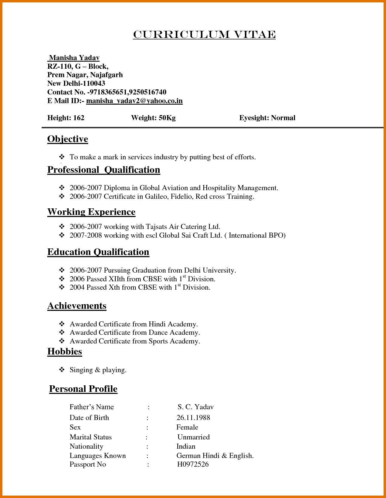Sample Resume For Cv