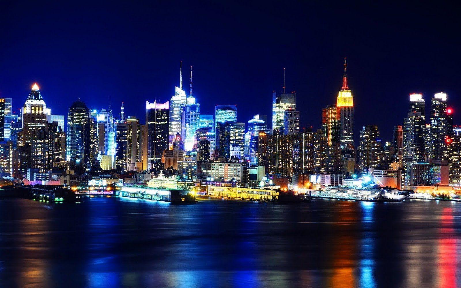 New York City Skyline Liberty Island Night
