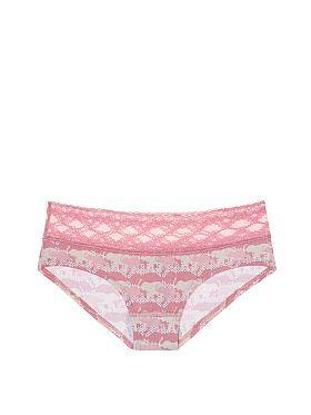 318e2ff0fd Victoria Secret Cotton Lingerie Lace-waist Hiphugger Panty in Rose Luster  Elephant Print