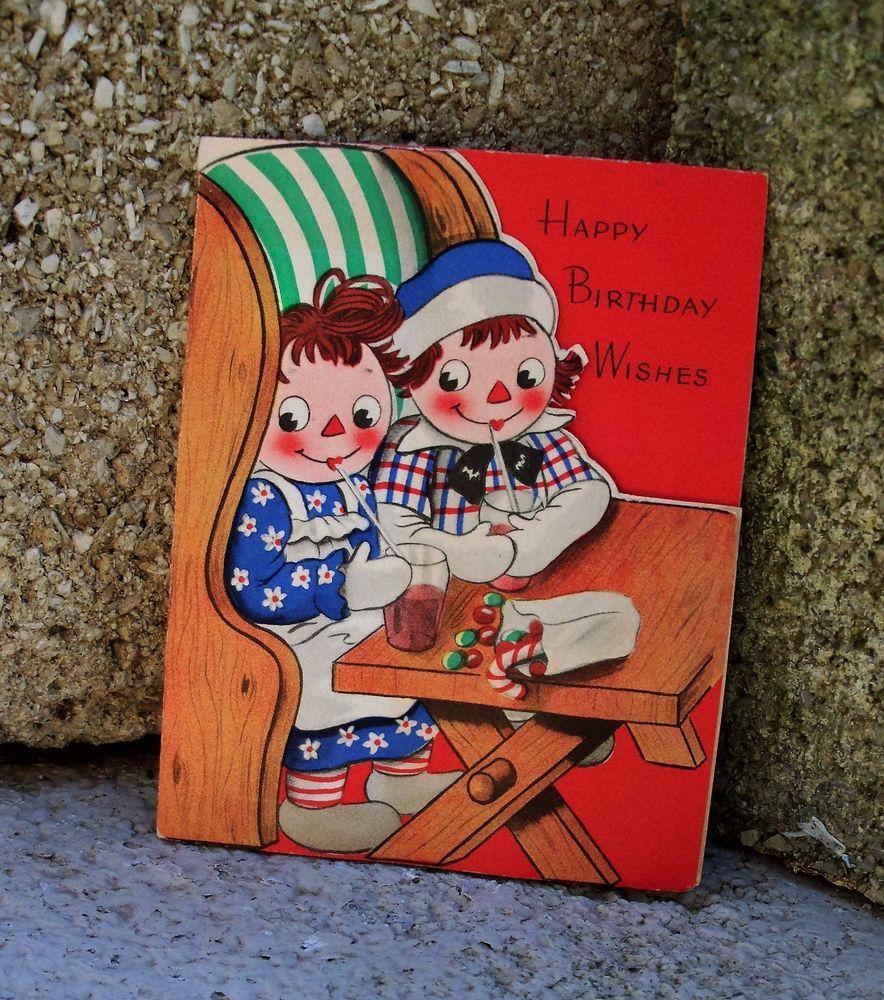 Vtg Volland 1948 Birthday Greeting Card Raggedy Ann Andy
