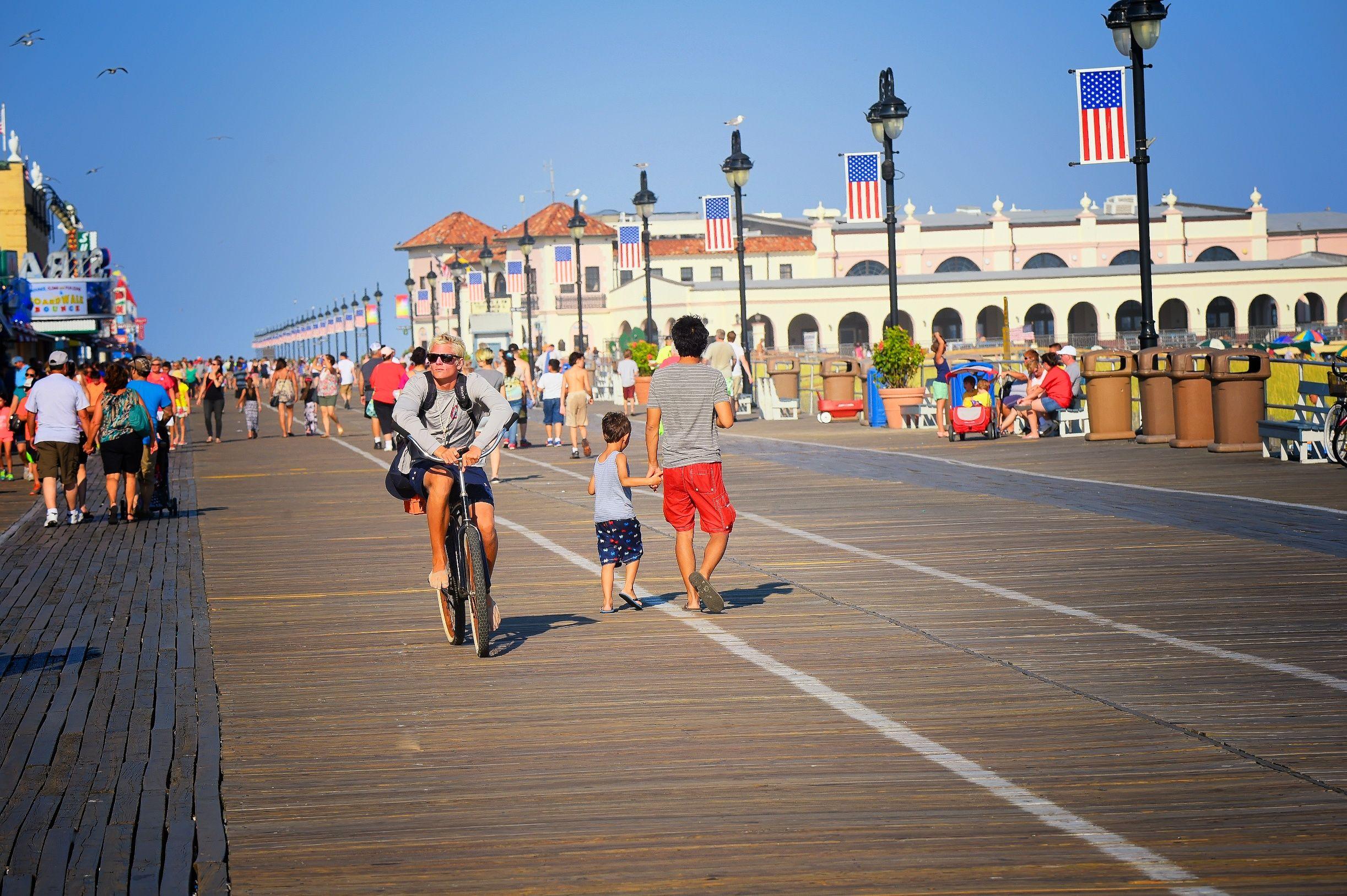 Tourists on the beach Cape May, NJ