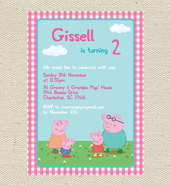 Peppa Pig Birthday Invitation Printable By Gigglesandgracedesig