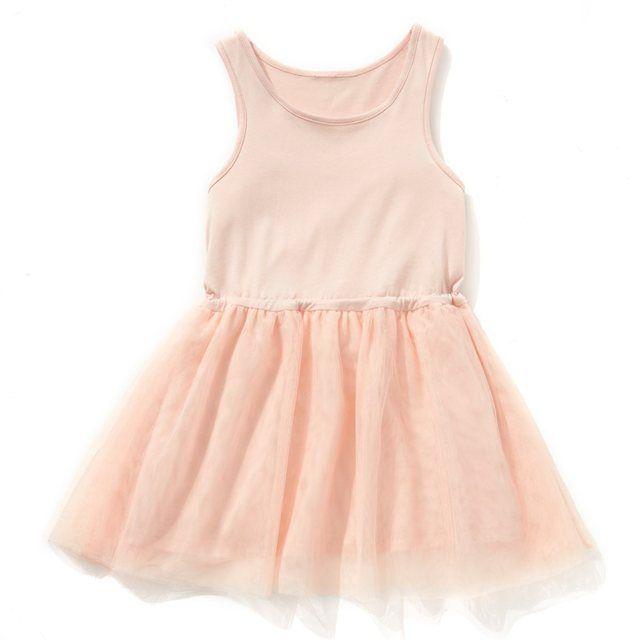 577ccbdfad7 La robe bi-matière pour un look romantique. Haut forme débardeur en jersey  pur coton. Base volantée en tulle 100 % polyester.