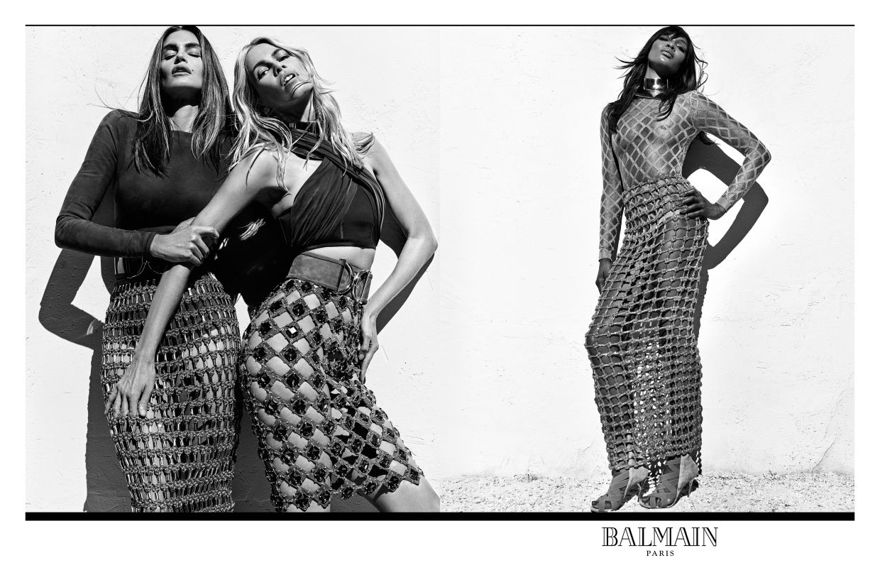 Naomi Campbell, Cindy Crawford, Claudia Schiffer Front Balmain Ad | StyleCaster