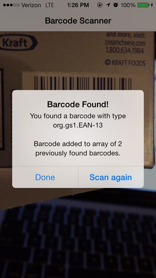 Example: Use The iOS 7 Barcode Scanner API And Identify
