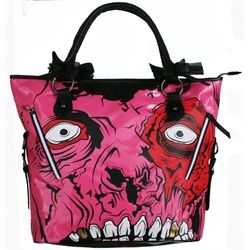 Iron Fist Zombie Gold Digger Pink and Black Vegan Shoulder Bag Purse. This Iron Fist black vinyl purse has a red-eyed, gold-toothed image of a pink zombie. Each of the handle straps have black silky ribbon and fishnet ribbon bows for an even edgy-er look. Front features Iron Fist's pink zombie with two zippers with real pockets on the front that look like scars. One gold tooth even has a clear rhinestone accent. Main compartment has full zipper closure.