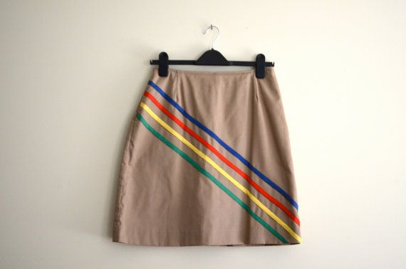 Vintage Tan Royal Daisy Rainbow Striped Skirt by AllyHootVintage