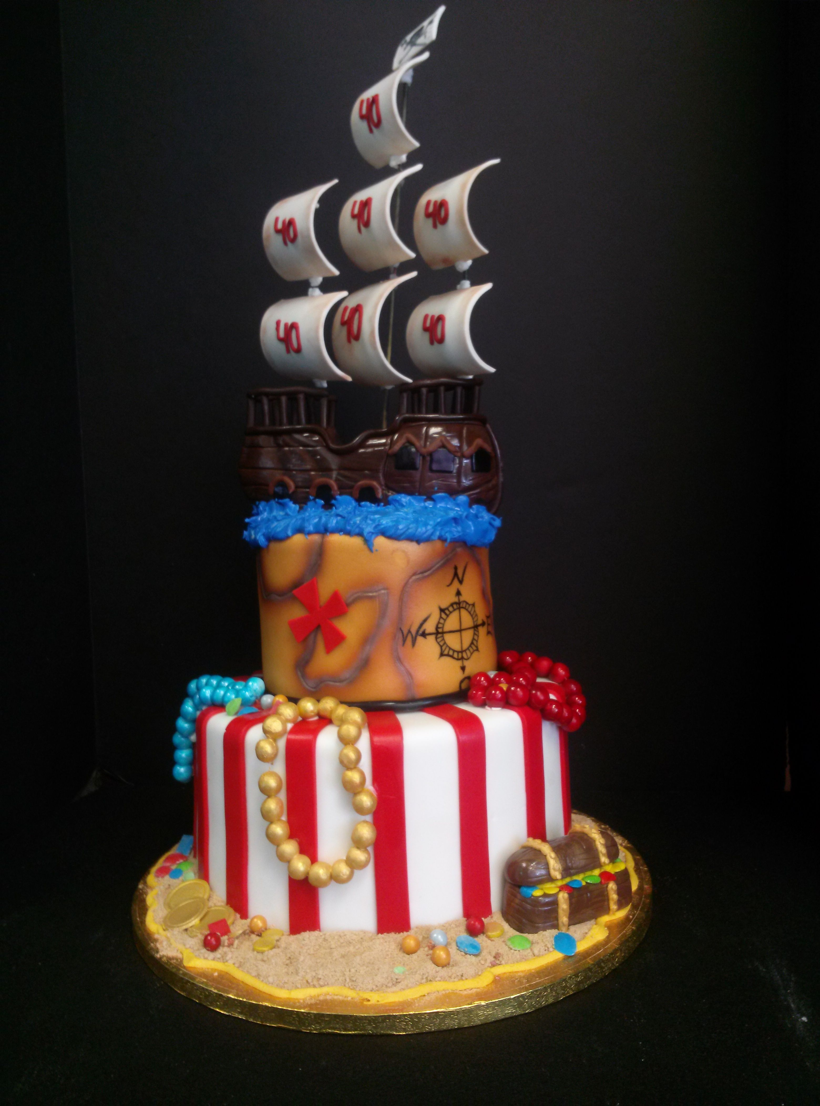 Pirate Themed 40th Birthday Cake Ashley Walters