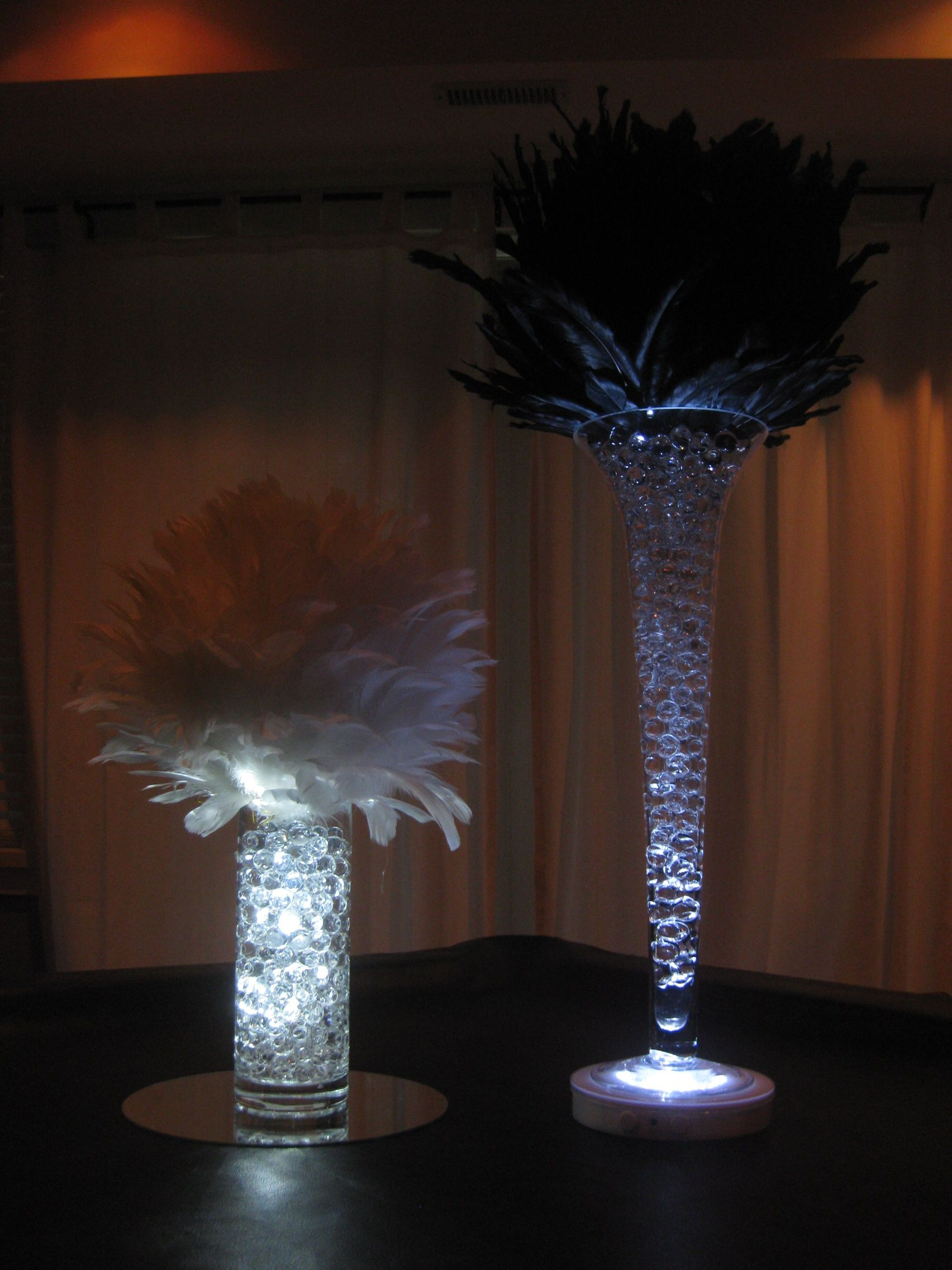 Black and White Feather Ball Centerpieces Using Trumpet Vase or