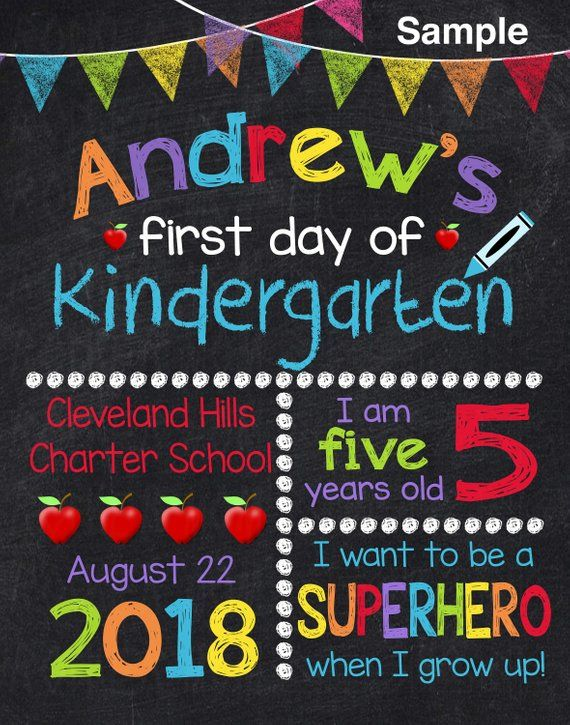 First Day Of Preschool Sign, First Day Of School Sign, Back To School Sign, Printable School Chalkbo #firstdayofschoolsign