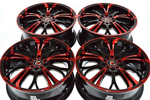 "17"" Wheels Rims ddr r25 Black with Polished Red Finish 17x7 5x100 5x114.3 40mm Offset 5 Lugs Bolt Pattern 5x100/114.3 (Set of 4)"